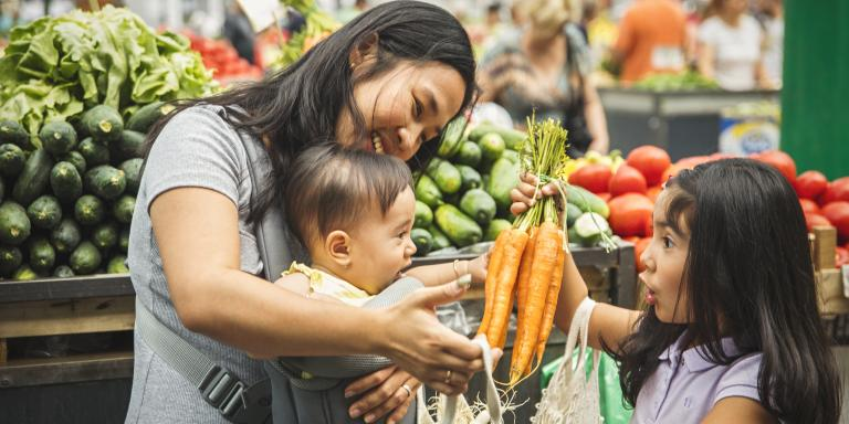 Mother and children at Farmer's Market